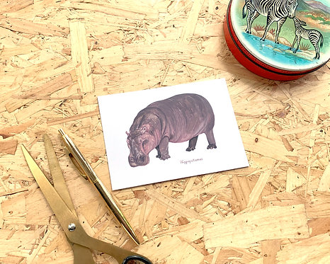 Hippopotamus Postcard // Mini Print