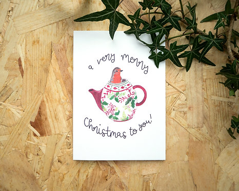 Robin in a Patterned Teapot // Christmas Card