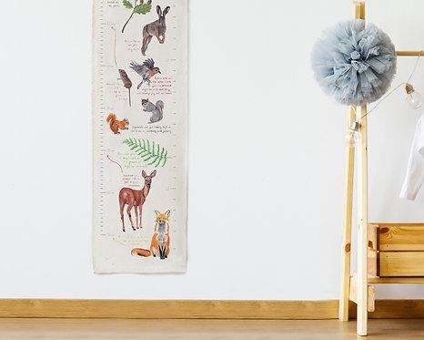 British Wildlife Fabric Height Chart