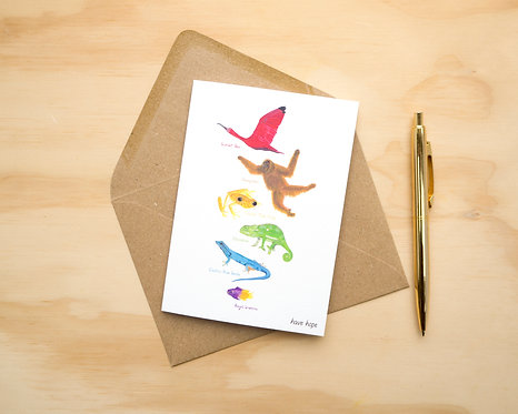 Animal Rainbow of Hope // Greetings Card