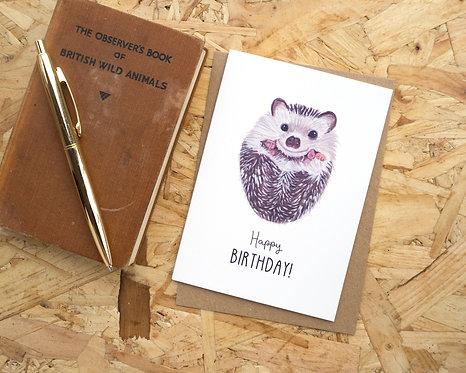 Happy Birthday Hedgehog // Birthday Card