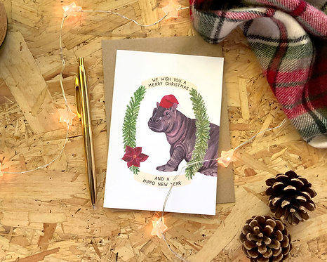 Merry Christmas and a Hippo New Years // Christmas Card
