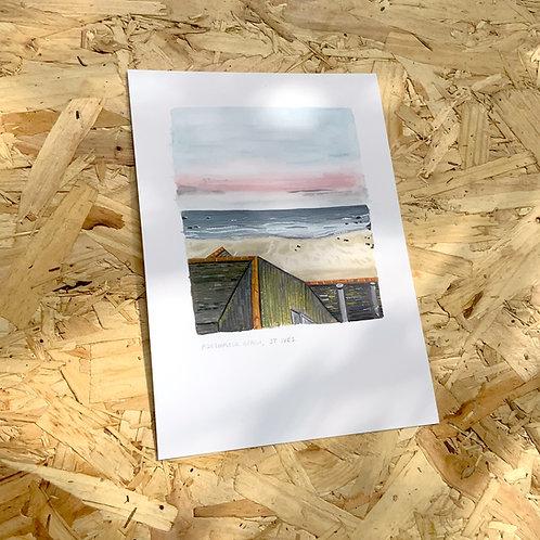 Porthmeor Beach St Ives Print // A5