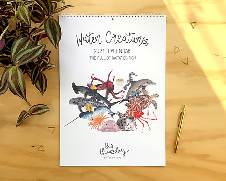 """Water Creatures """"Full of Facts Edition"""" 2021 A3 Calendar"""
