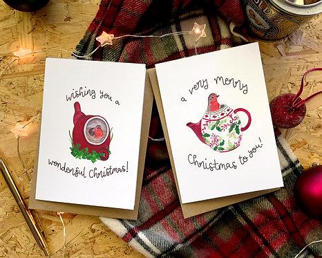 Set of 4 Teapot Robin Christmas Cards
