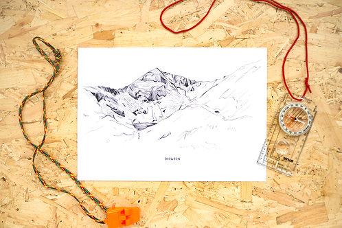 Snowdon Line Illustration Print