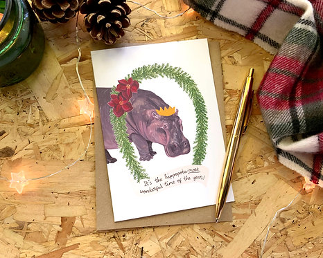 Hippopota-most Wonderful Time of the Year // Christmas Card