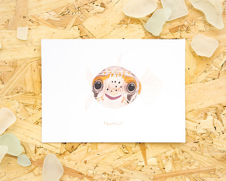 Pufferfish Postcard // Mini Print