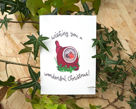Robin in a Red Teapot // Christmas Card