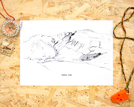Scafell Pike Line Illustration Print