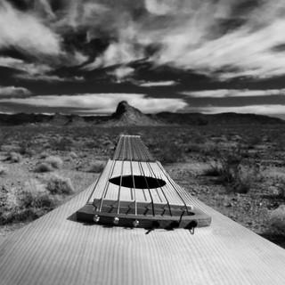 B&W Guitar in Desert.JPG