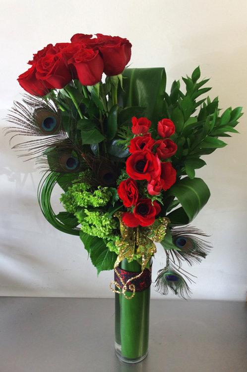 Modern Dozen Roses with Anemones