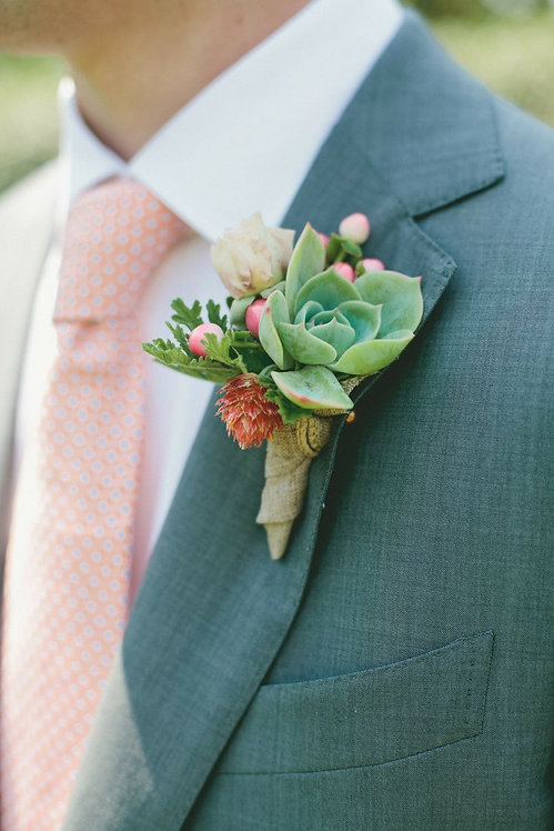 Grooms Boutonnieres Succulent and mixed flowers