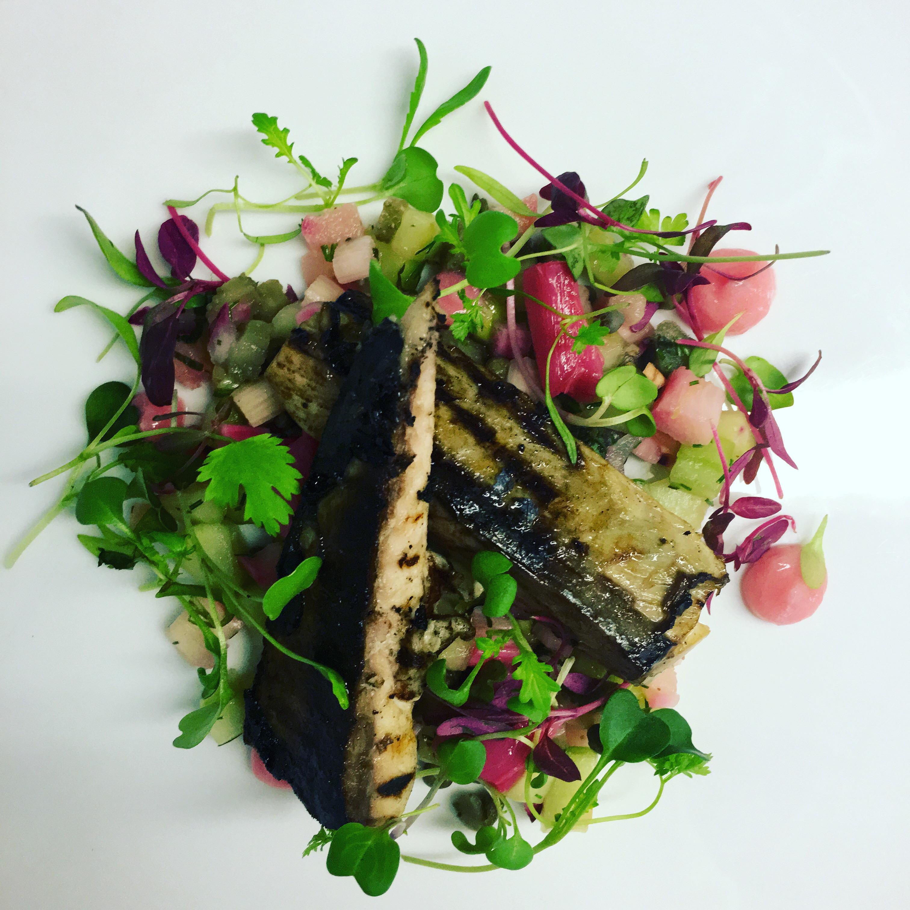 BBQ mackerel, cucumber, rhubarb and