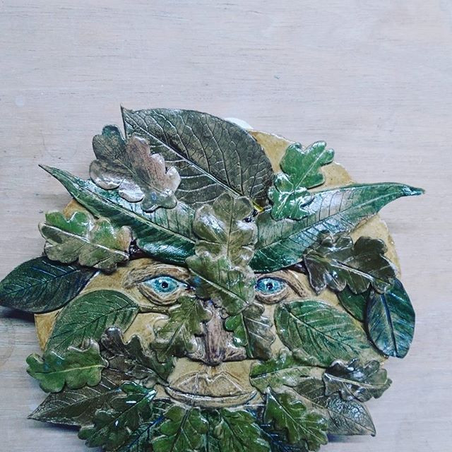 Green man made by one of my students, fresh out of the kiln. So lovely.jpg
