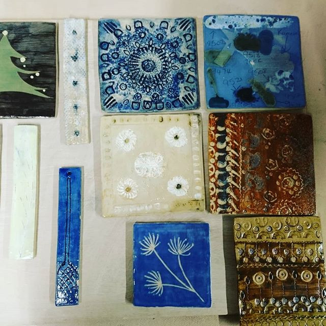 Student tiles just out of kiln_#potteryclassessuffolk #handmadetiles #handmade #handmadeSuffolk #ceramicclassesSuffolk #art