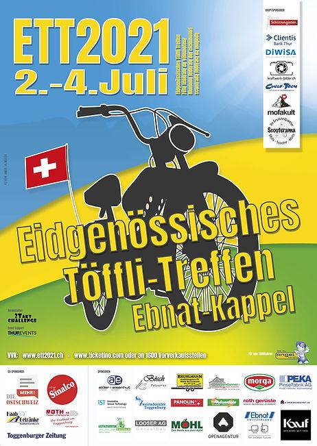 Flyer ETT2021 Eidgenössisches Töffli Treffen Ebnat-Kappel