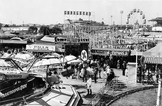 View of the sideshow alley and amusement