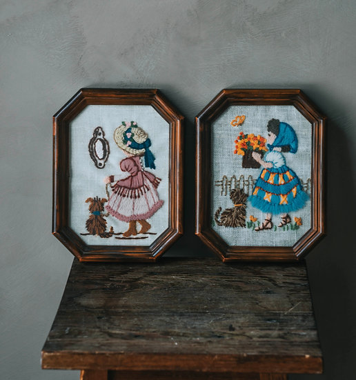 2 hand-knitted frames