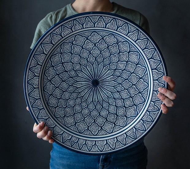 Marockansk keramik Skål 40 Cm Blue