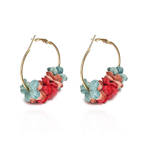 Fabric Flower Hoop Earring