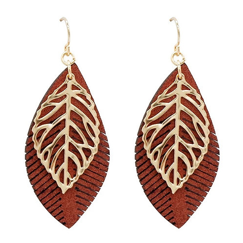 Boho Gold Leaf Drop Earring