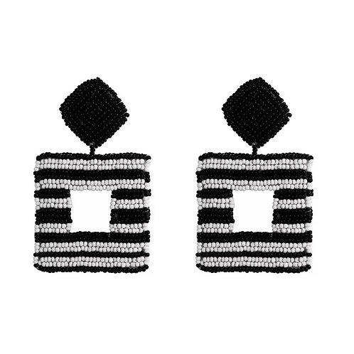 Striped Geo Drop Earring