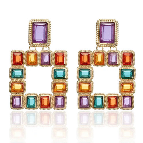 Square Jeweled Drop Earring