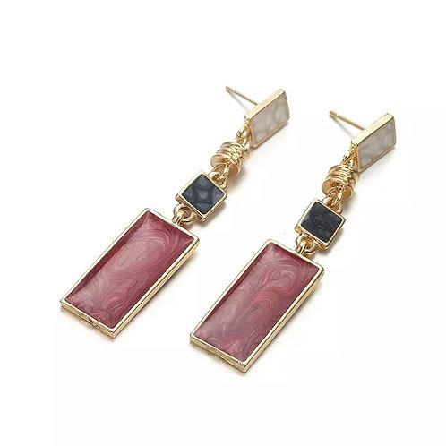 Square Red/Black Drop Earrings