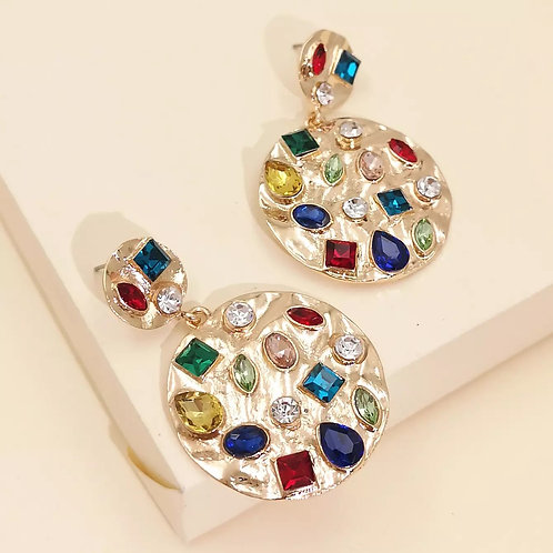 Jeweled Disc Drop Earring