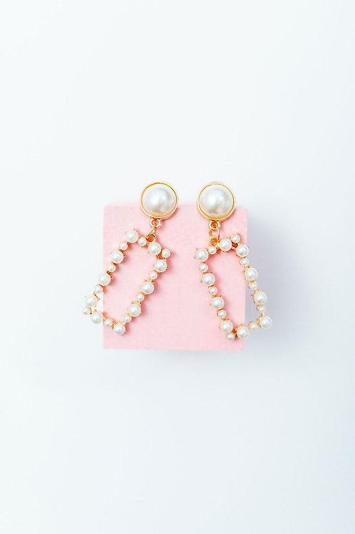 Rectangle Pearl Drop Earring