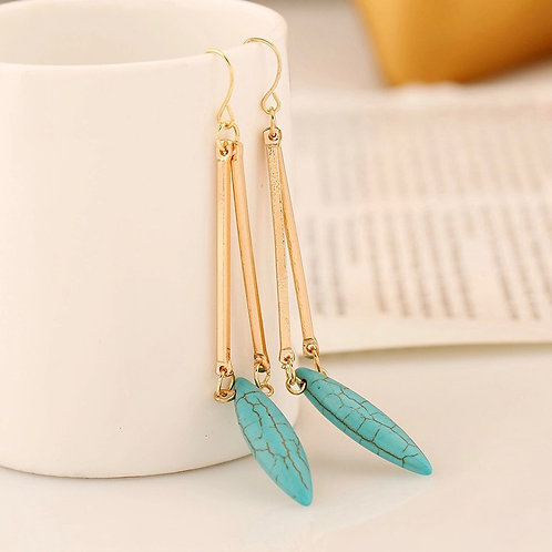Gold Turquoise Drop Earring