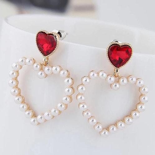 Jeweled Pearl Heart Earring