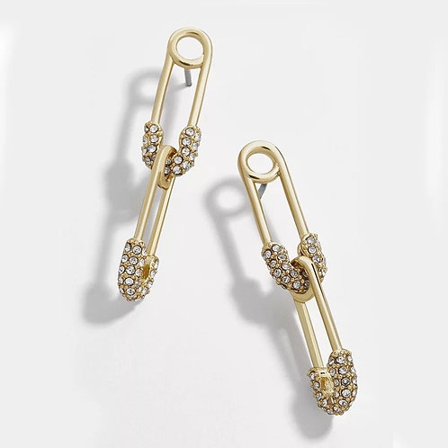 Linked Safety Pin Earring