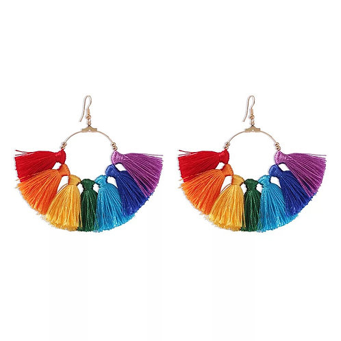 Rainbow Tassel Earring