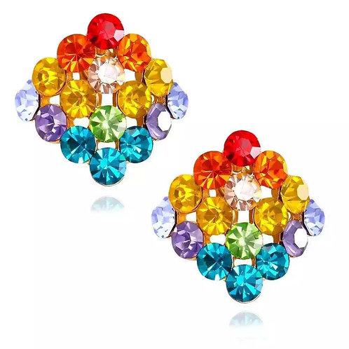 Jeweled Rainbow Stud Clip-On Earring