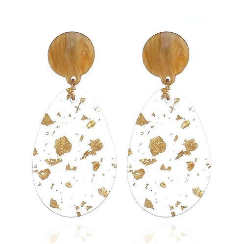 Acrylic Gold Flake Earring