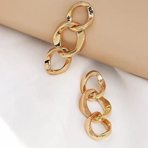 Gold Link Drop Earring
