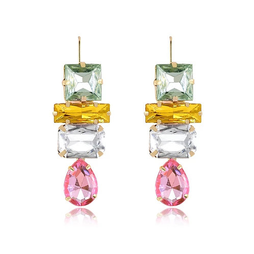 Stacked Jeweled Drop Earring