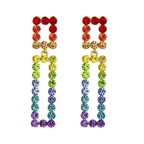 Jeweled Rainbow Drop Earring