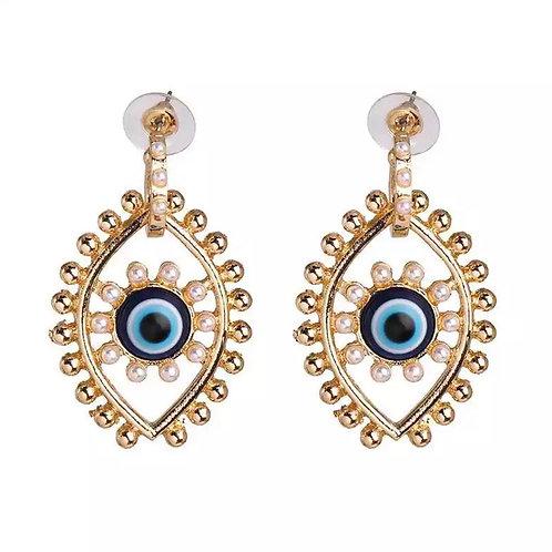 Third Eye Gold Vertical Earring