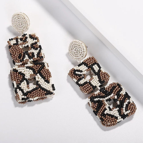 Stacked Spotted Geo Drop Earring