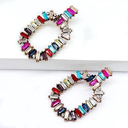 Oval Jeweled Drop Earring