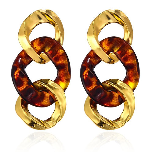 Gold/Brown Link Drop Earring