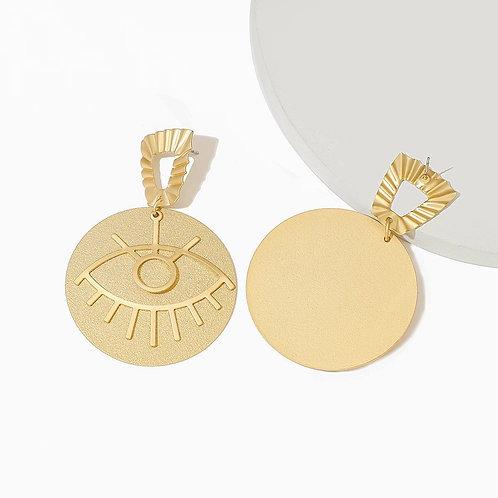 Gold Disc Third Eye Drop Earring