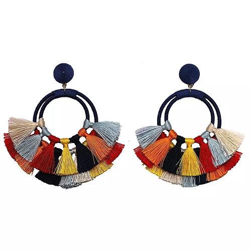 Boho Double Hoop Tassel Earring