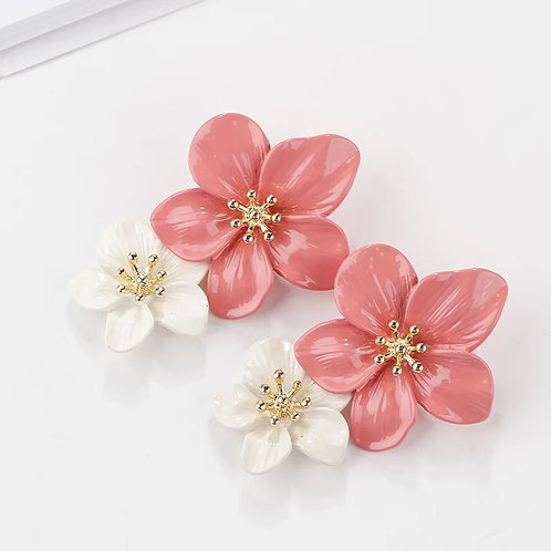 Two Tone Floral Drop Earring