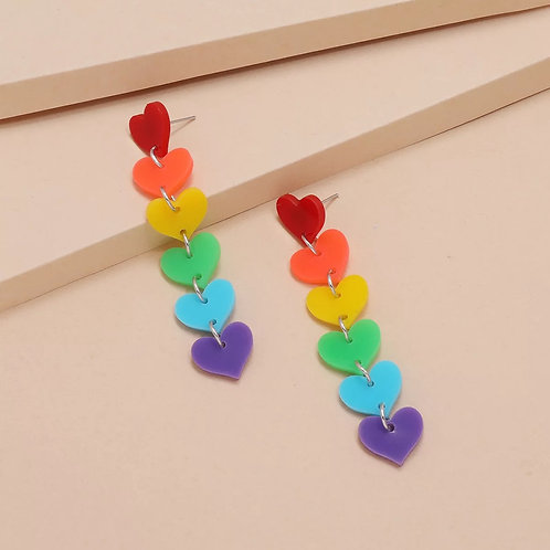Dangle Heart Rainbow Earring