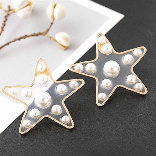 Acrylic Pearl Star Stud Earring