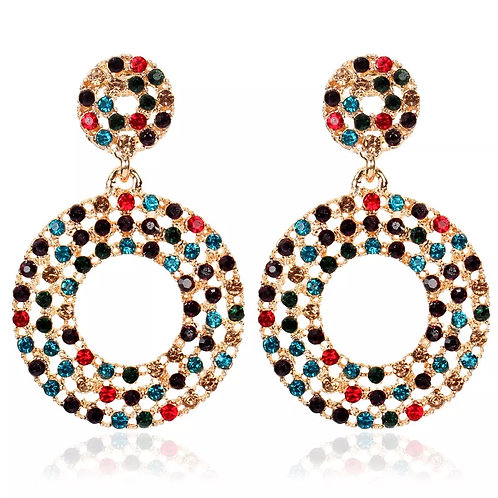 Round Jeweled Earring